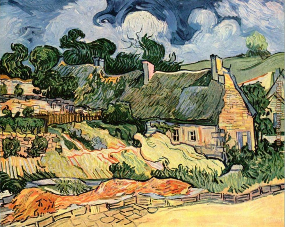 Thatched Cottages at Cordeville painting - Vincent van Gogh Thatched Cottages at Cordeville art painting