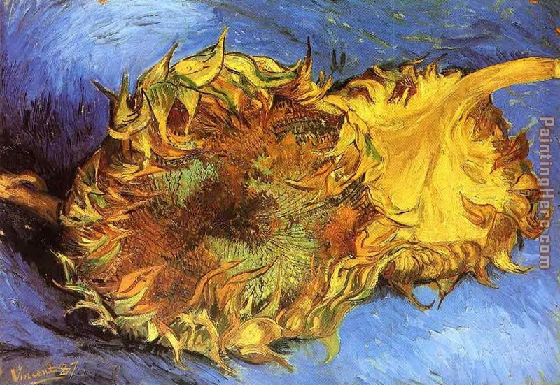 Two Cut Sunflowers painting - Vincent van Gogh Two Cut Sunflowers art painting