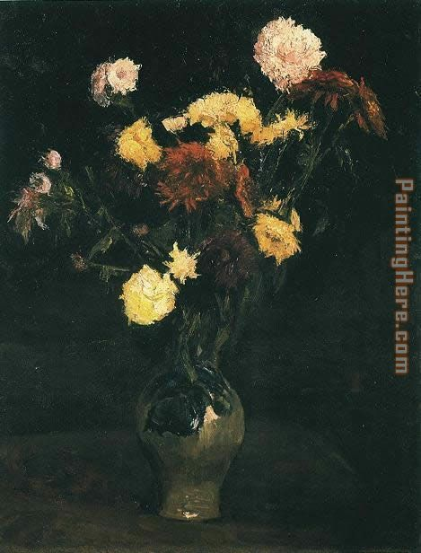 Vase with Carnations and Zinnias painting - Vincent van Gogh Vase with Carnations and Zinnias art painting