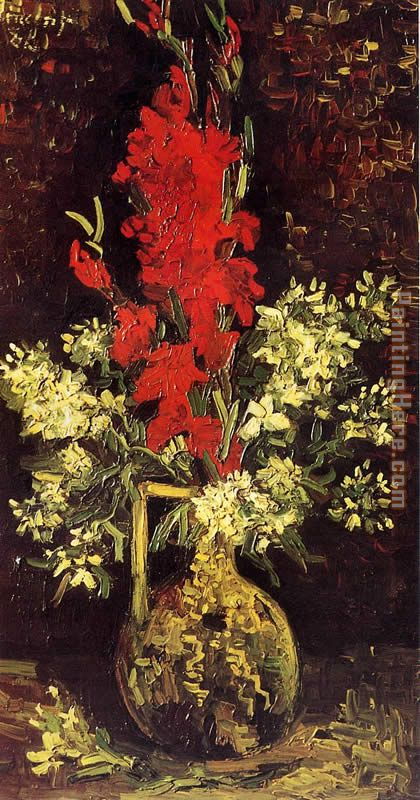 Vase with Gladioli and Carnations painting - Vincent van Gogh Vase with Gladioli and Carnations art painting