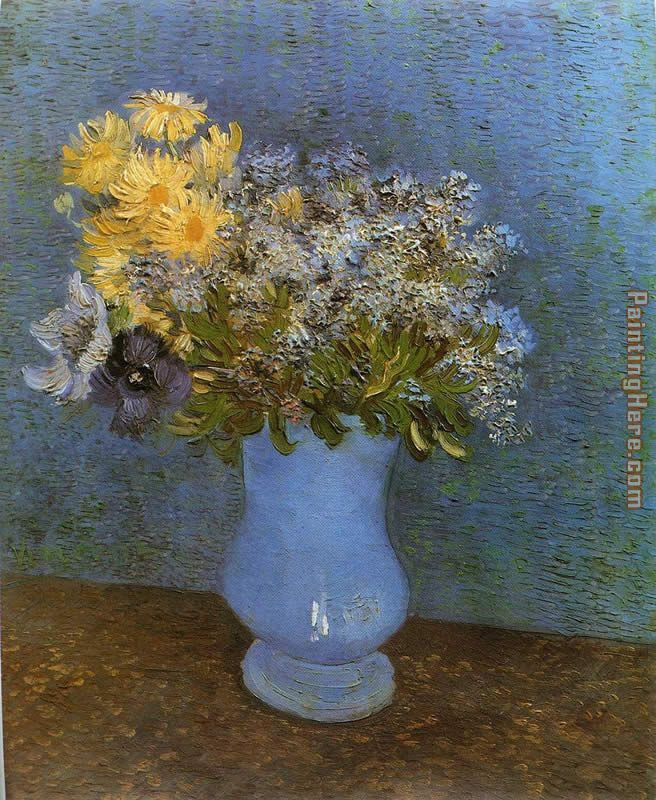 Vase with Lilacs Daisies and Anemomes painting - Vincent van Gogh Vase with Lilacs Daisies and Anemomes art painting