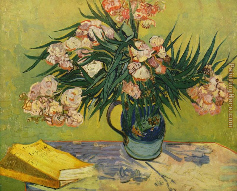 Vase with Oleanders and Books painting - Vincent van Gogh Vase with Oleanders and Books art painting