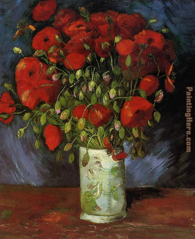 Vase with Red Poppies painting - Vincent van Gogh Vase with Red Poppies art painting