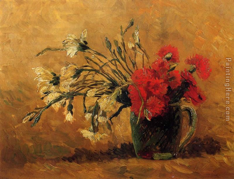 Vase with Red and White Carnations on a Yellow Background painting - Vincent van Gogh Vase with Red and White Carnations on a Yellow Background art painting