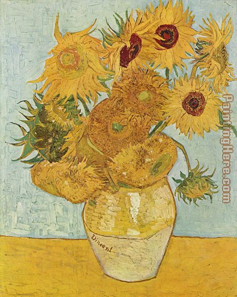 Vase with Twelve Sunflowers painting - Vincent van Gogh Vase with Twelve Sunflowers art painting