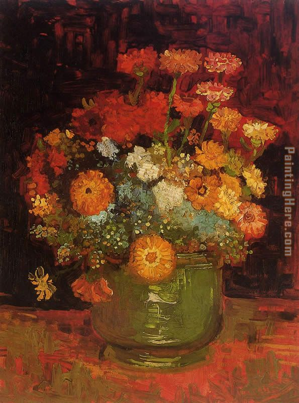 Vase with Zinnias painting - Vincent van Gogh Vase with Zinnias art painting