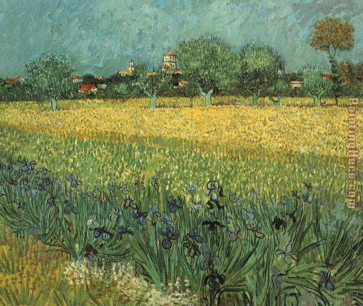 View of Arles with Irises painting - Vincent van Gogh View of Arles with Irises art painting