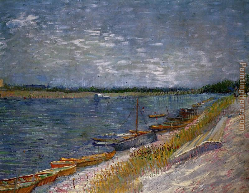 View of a River with Rowing Boats painting - Vincent van Gogh View of a River with Rowing Boats art painting