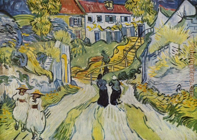 Village Street and Stairs with Figures painting - Vincent van Gogh Village Street and Stairs with Figures art painting