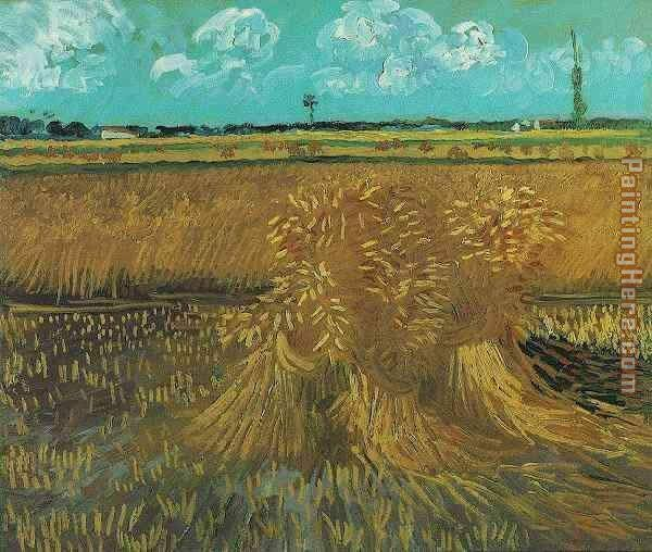 Wheat Field with Sheaves painting - Vincent van Gogh Wheat Field with Sheaves art painting