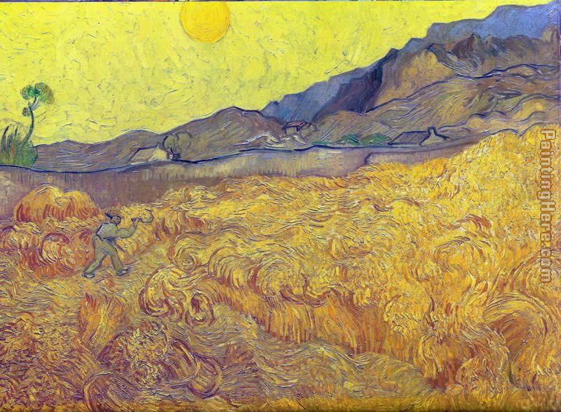Wheat Fields with Reaper at Sunrise painting - Vincent van Gogh Wheat Fields with Reaper at Sunrise art painting