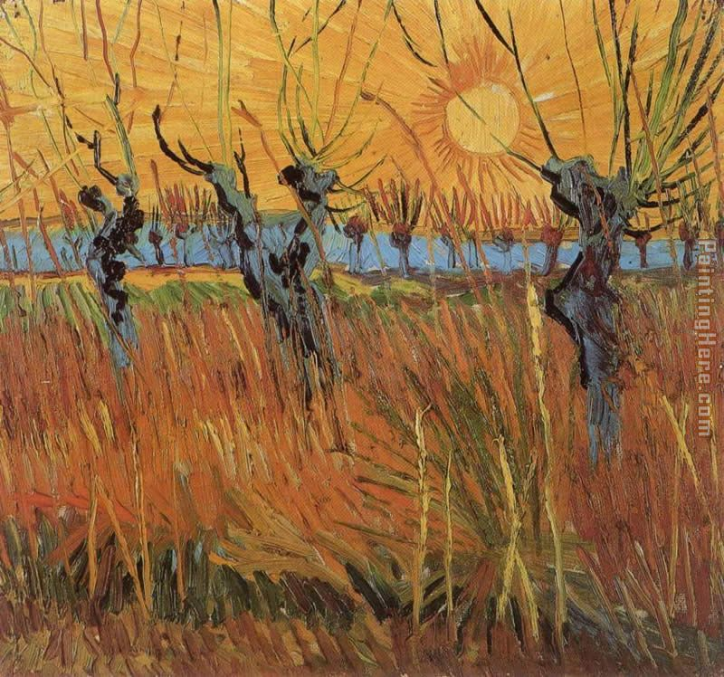 Willows at Sunset painting - Vincent van Gogh Willows at Sunset art painting