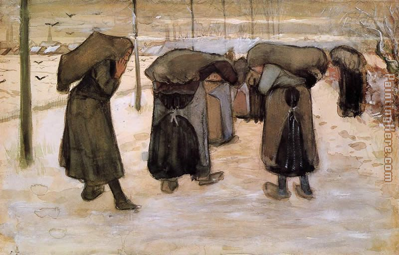 Women Miners Carrying Coal painting - Vincent van Gogh Women Miners Carrying Coal art painting