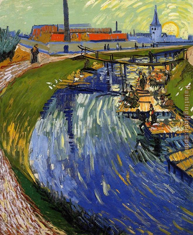 Vincent van Gogh Women Washing on a Canal Art Painting