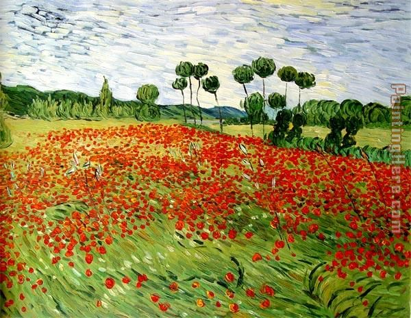field of poppies painting - Vincent van Gogh field of poppies art painting