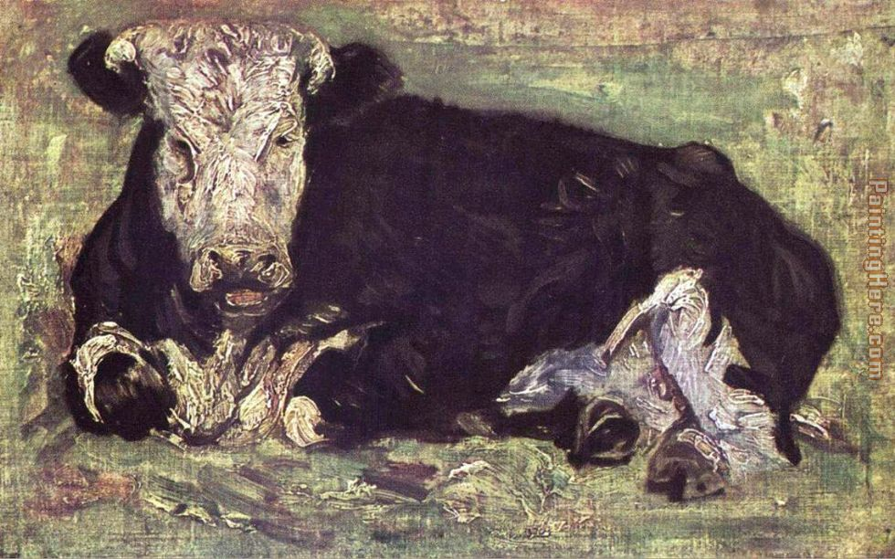 lying cow painting - Vincent van Gogh lying cow art painting