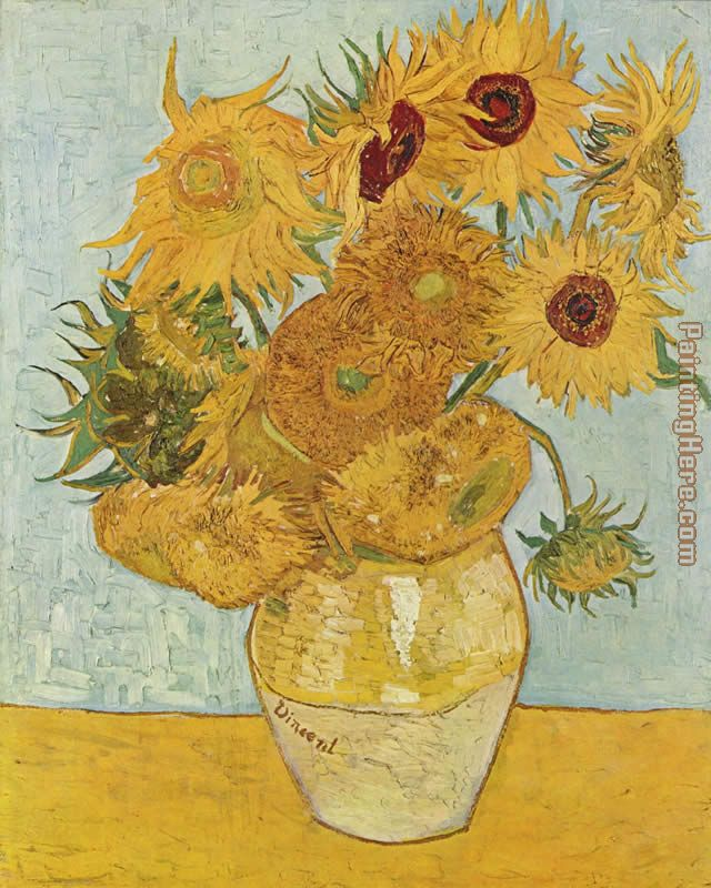 vase with twelve sunflowers 1888 painting - Vincent van Gogh vase with twelve sunflowers 1888 art painting