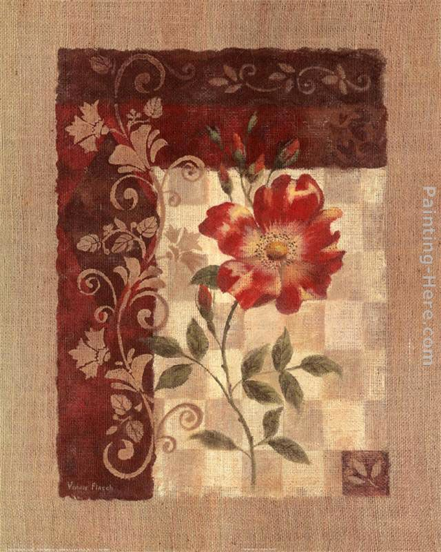Burlap Climbing Rose painting - Vivian Flasch Burlap Climbing Rose art painting
