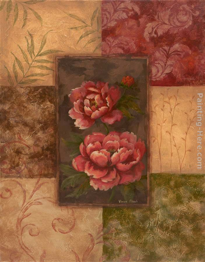 Vivian Flasch Peonies on Chocolate Art Painting