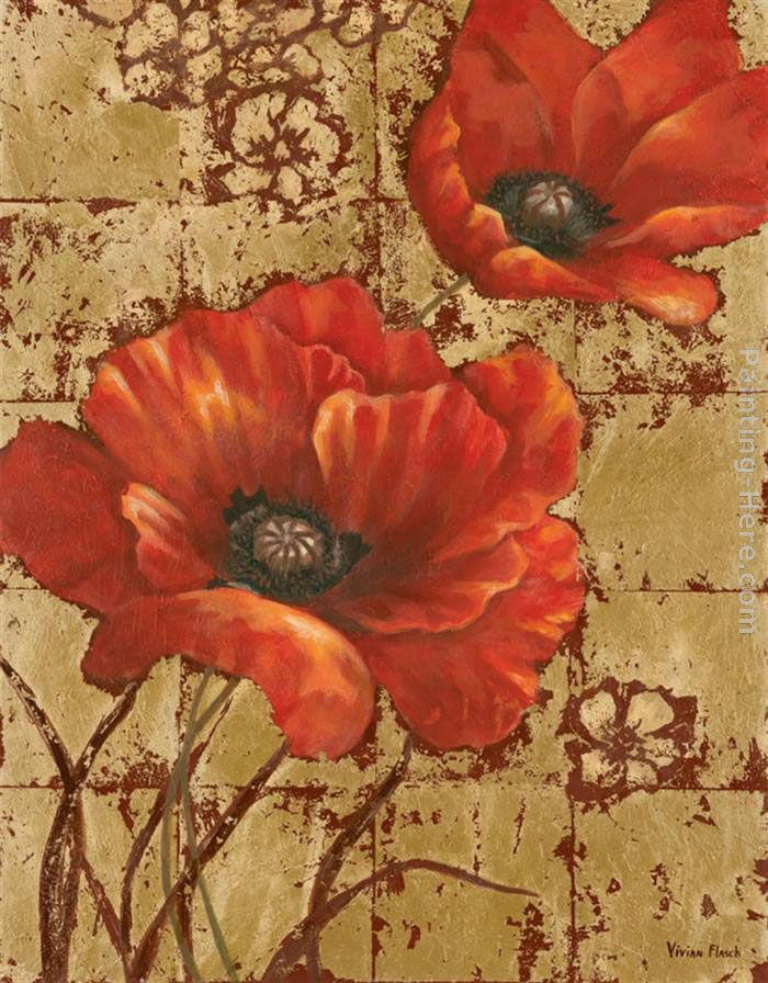Poppies on Gold I painting - Vivian Flasch Poppies on Gold I art painting