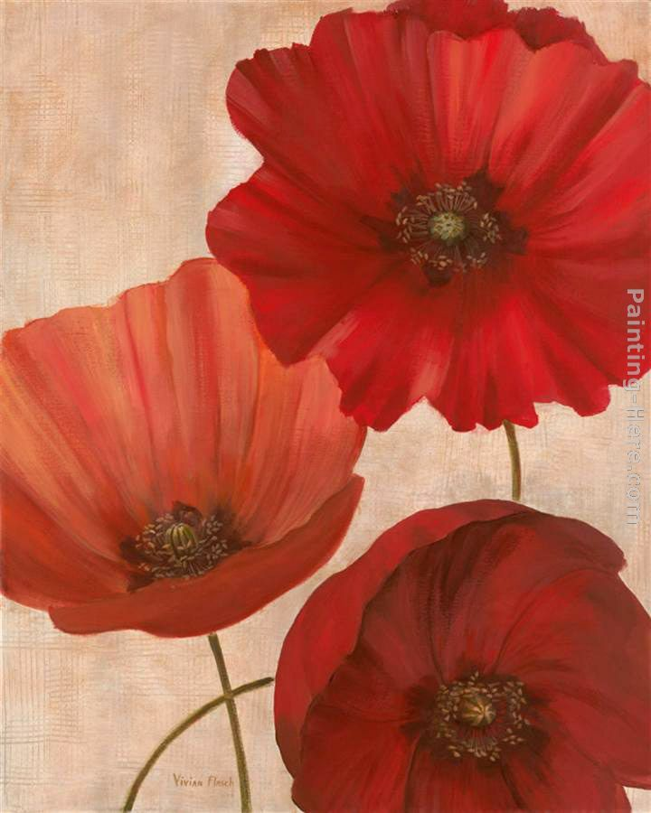 Vivian flasch poppy trio ii painting anysize 50 off - How to paint poppy flowers ...