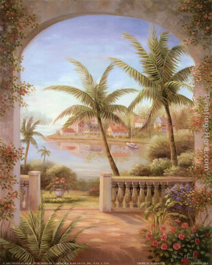 vivian flasch tropical terrace ii art painting for sale