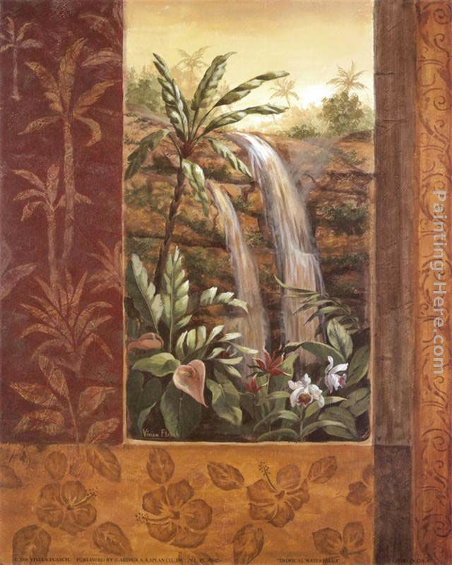 Tropical Waterfall I painting - Vivian Flasch Tropical Waterfall I art painting