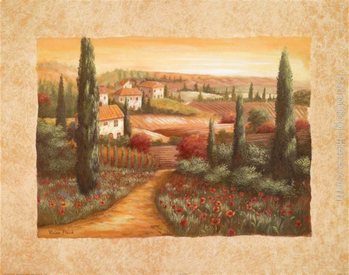 Tuscan Sunset I painting - Vivian Flasch Tuscan Sunset I art painting