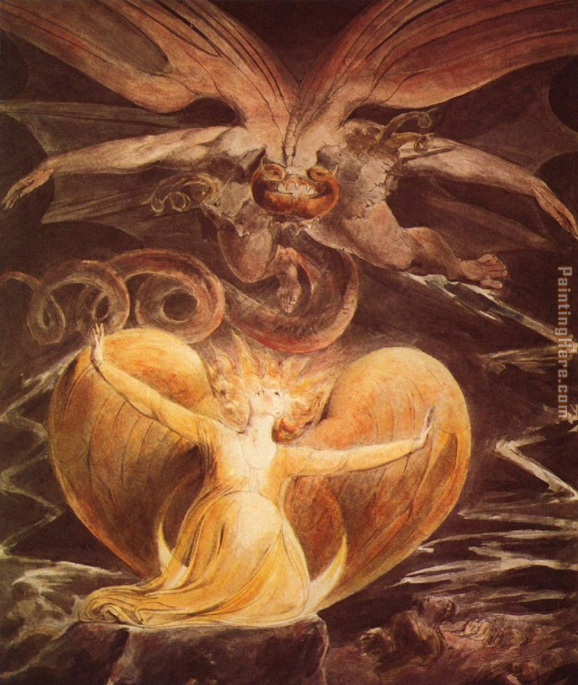 The Great Red Dragon and the Woman Clothed with Sun painting - William Blake The Great Red Dragon and the Woman Clothed with Sun art painting