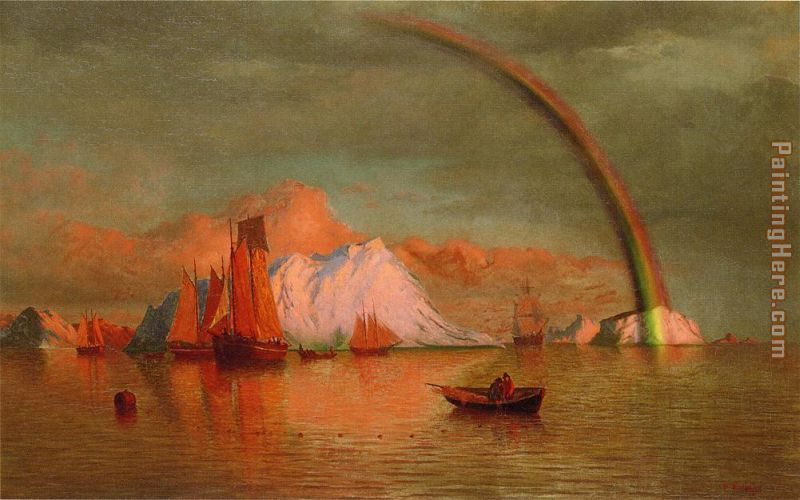Arctic Sunset with Rainbow painting - William Bradford Arctic Sunset with Rainbow art painting