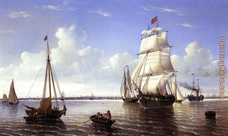 Boston Harbor painting - William Bradford Boston Harbor art painting