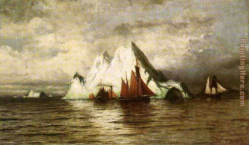 Fishing Boats and Icebergs painting - William Bradford Fishing Boats and Icebergs art painting