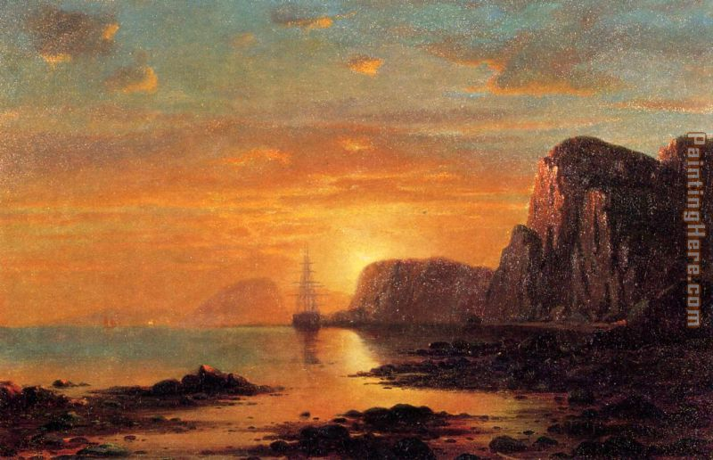 Seascape, Cliffs at Sunset painting - William Bradford Seascape, Cliffs at Sunset art painting