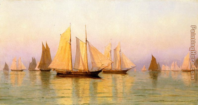 Sloops and Schooners at Evening Calm painting - William Bradford Sloops and Schooners at Evening Calm art painting