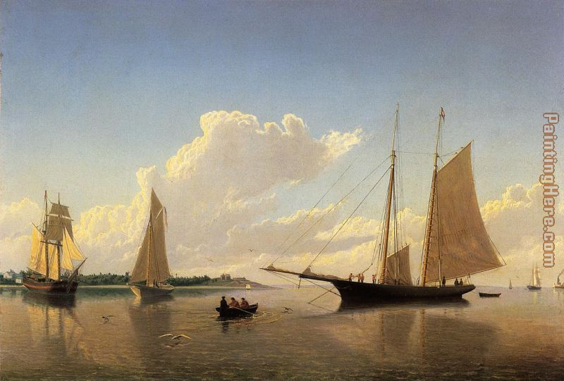 Stowing Sails off Fairhaven painting - William Bradford Stowing Sails off Fairhaven art painting