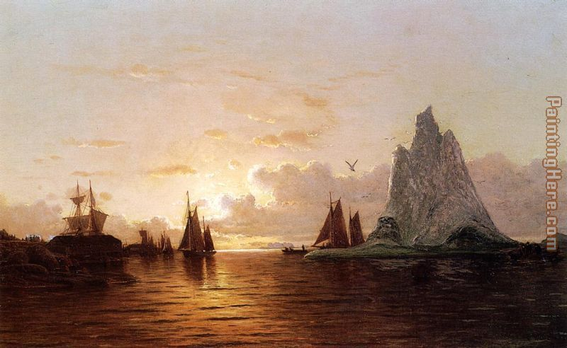 Sunset at the Strait of Belle Isle painting - William Bradford Sunset at the Strait of Belle Isle art painting