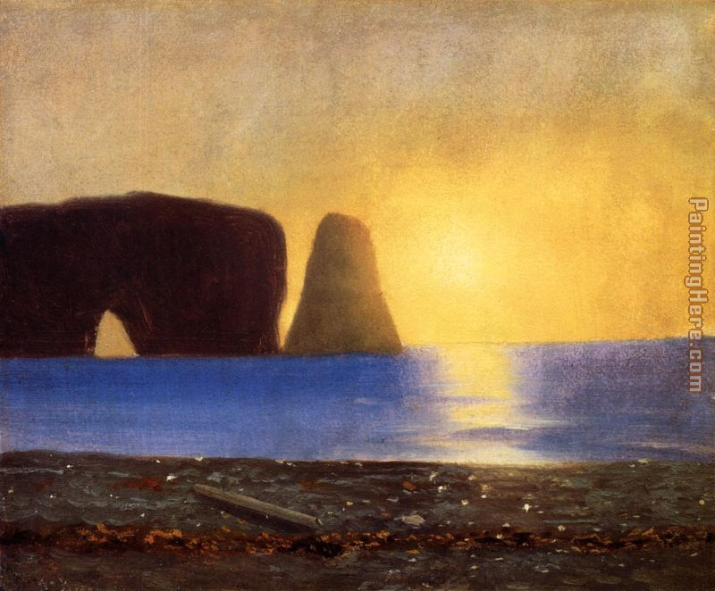 The Sun Sets, Perce Rock, Gaspe, Quebec painting - William Bradford The Sun Sets, Perce Rock, Gaspe, Quebec art painting