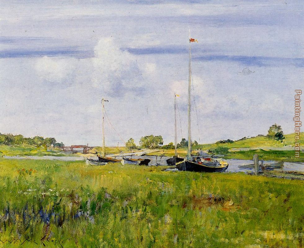 William Merritt Chase At The Boat Landing Art Painting
