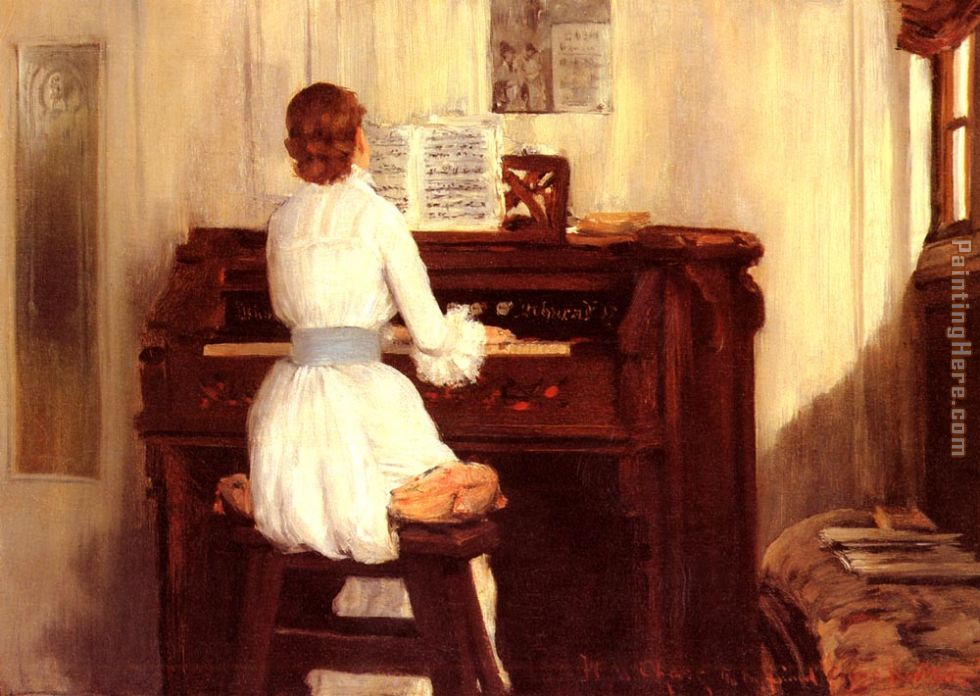 Mrs. Meigs at the Piano Organ painting - William Merritt Chase Mrs. Meigs at the Piano Organ art painting