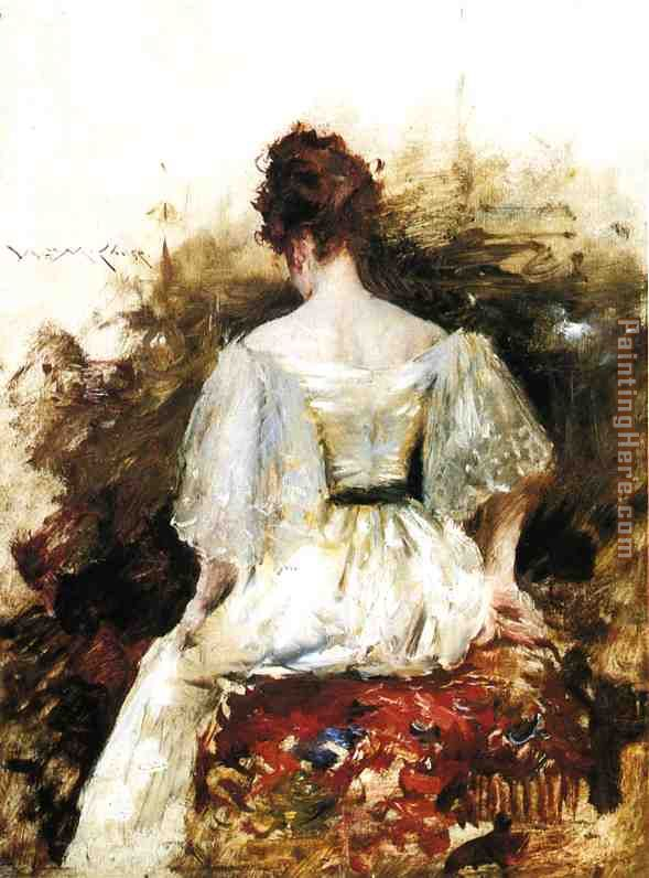 Portrait of a Woman in a White Dress painting - William Merritt Chase Portrait of a Woman in a White Dress art painting