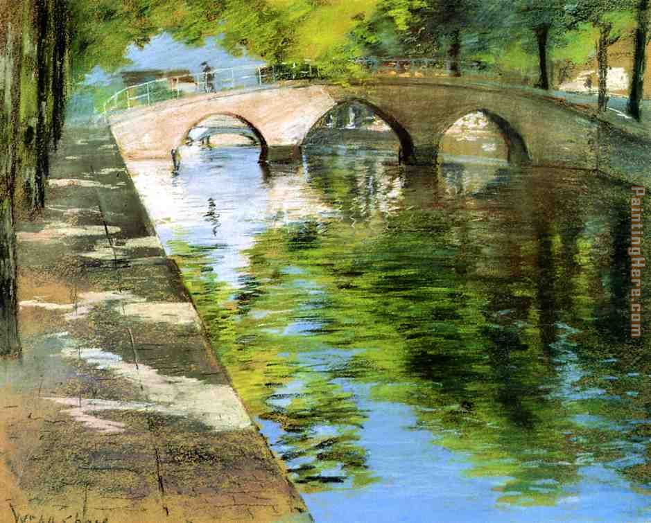 Reflections aka Canal Scene painting - William Merritt Chase Reflections aka Canal Scene art painting