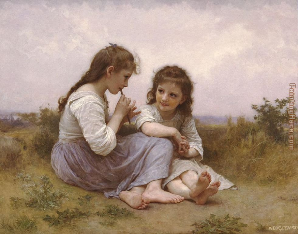 A Childhood Idyll painting - William Bouguereau A Childhood Idyll art painting