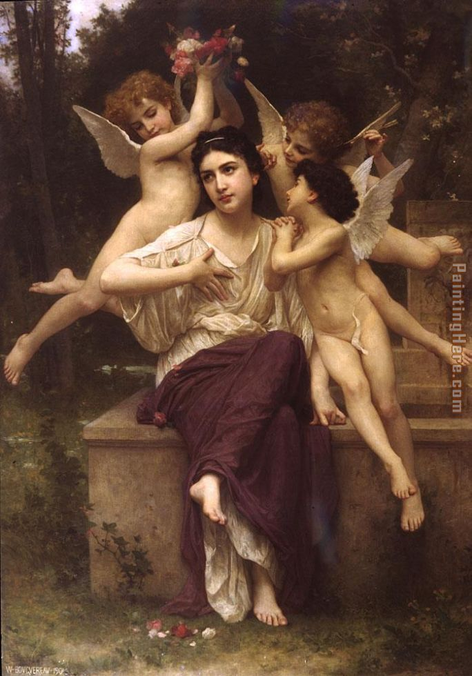 A Dream of Spring painting - William Bouguereau A Dream of Spring art painting
