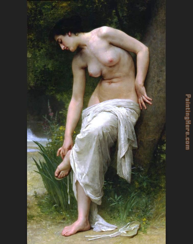 William Bouguereau After the Bath Art Painting