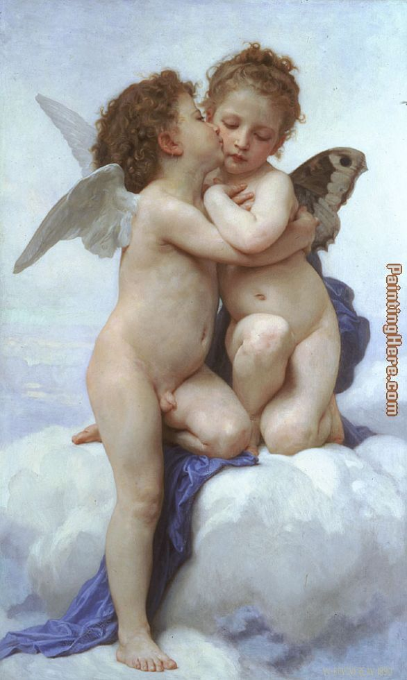 Cupid and Psyche as Children painting - William Bouguereau Cupid and Psyche as Children art painting