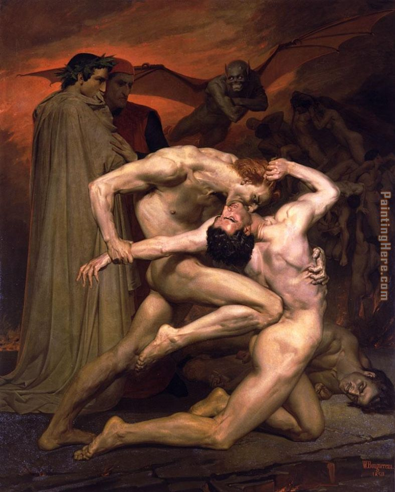 Dante and Virgil in Hell painting - William Bouguereau Dante and Virgil in Hell art painting