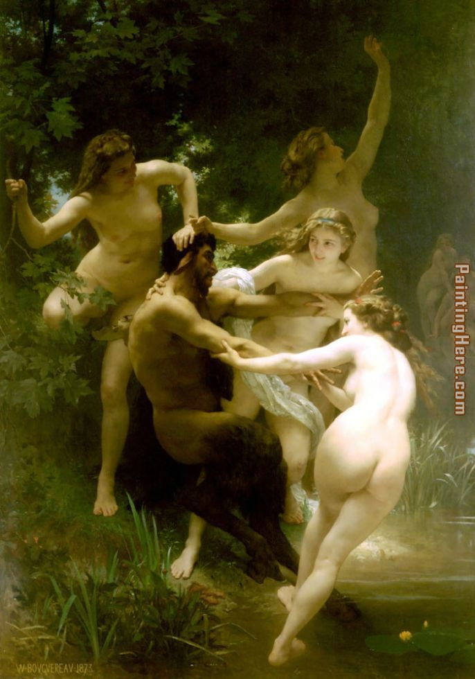 Nymphs and Satyr. painting - William Bouguereau Nymphs and Satyr. art painting