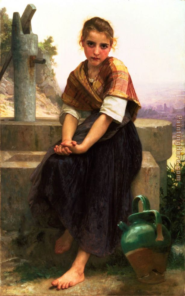 The Broken Pitcher painting - William Bouguereau The Broken Pitcher art painting