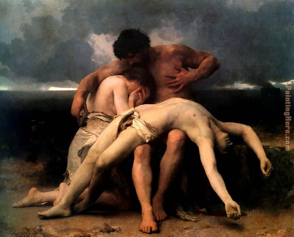 The First Mourning painting - William Bouguereau The First Mourning art painting