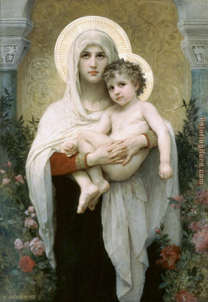 The Madonna of the Roses painting - William Bouguereau The Madonna of the Roses art painting